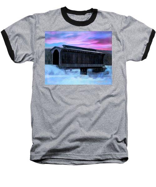Fisher Raiilroad Covered Bridge Wolcott Vermont. Baseball T-Shirt