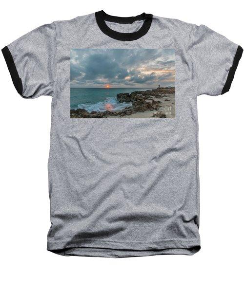 Fisherman On Rocks Baseball T-Shirt