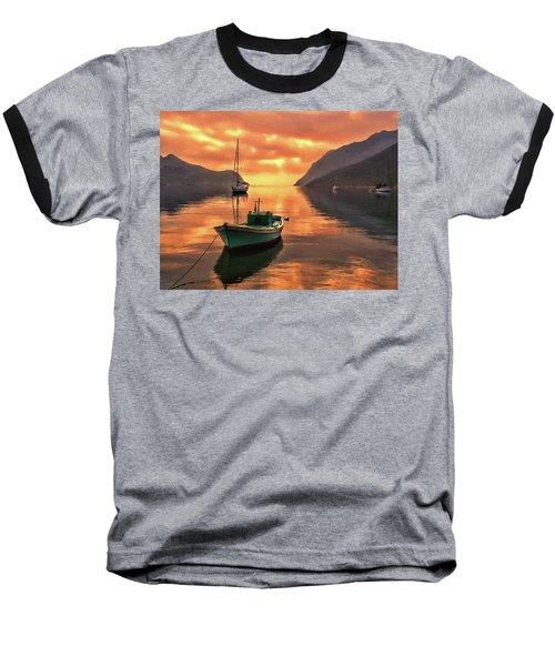Fishing Boats At Sunset Simi Greek Islands-dwp40406001 Baseball T-Shirt
