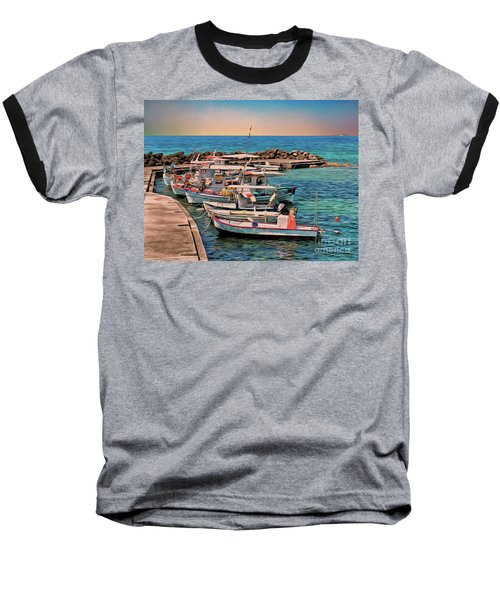 Baseball T-Shirt featuring the photograph Fishing Boats Corfu by Leigh Kemp