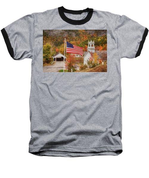 Flag Flying Over The Stark Covered Bridge Baseball T-Shirt