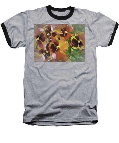 Baseball T-Shirt featuring the mixed media Flaming Pansies 9  by Lynda Lehmann