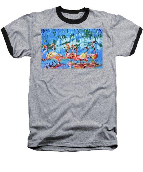 Flamingo Pat Party Baseball T-Shirt