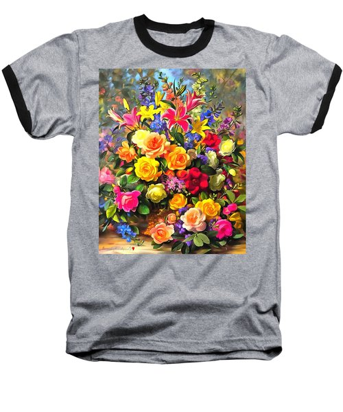 Floral Bouquet In Acrylic Baseball T-Shirt