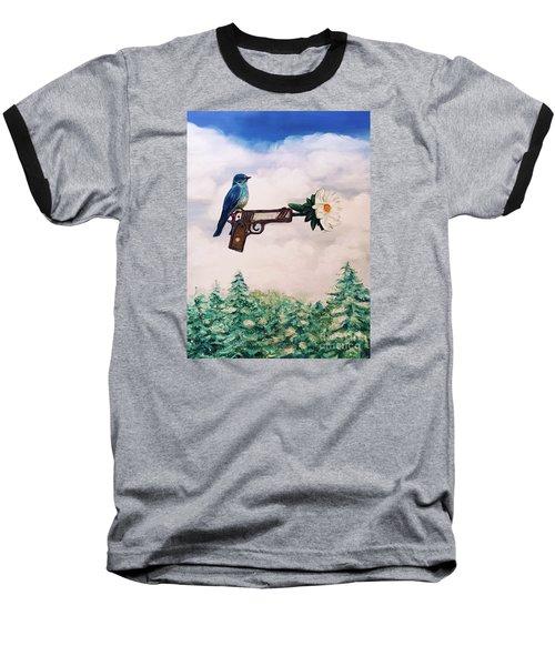 Flower In A Gun- Bluebird Of Happiness Baseball T-Shirt