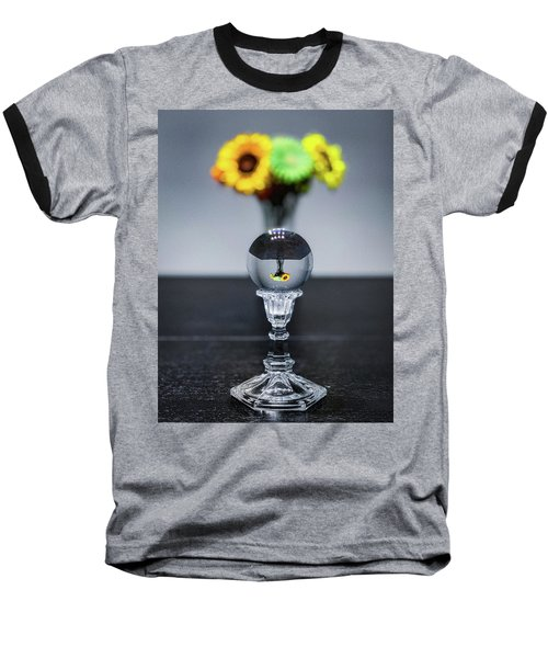 Baseball T-Shirt featuring the photograph Flowers And Crystal Ball by Lora J Wilson