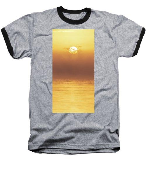 Foggy Wetlands Sunrise Baseball T-Shirt