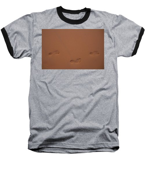 Foot Prints In Sand Baseball T-Shirt