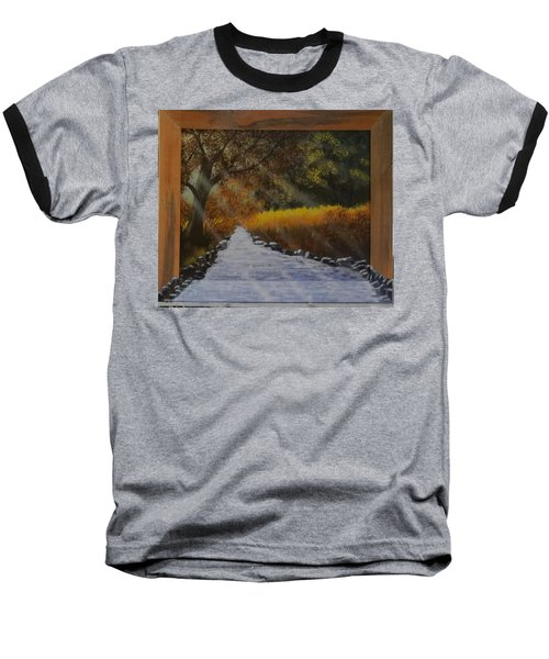 Forest Sunrays Over Water Baseball T-Shirt