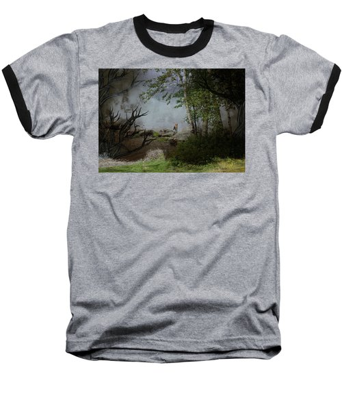 Fox On Rocks Baseball T-Shirt