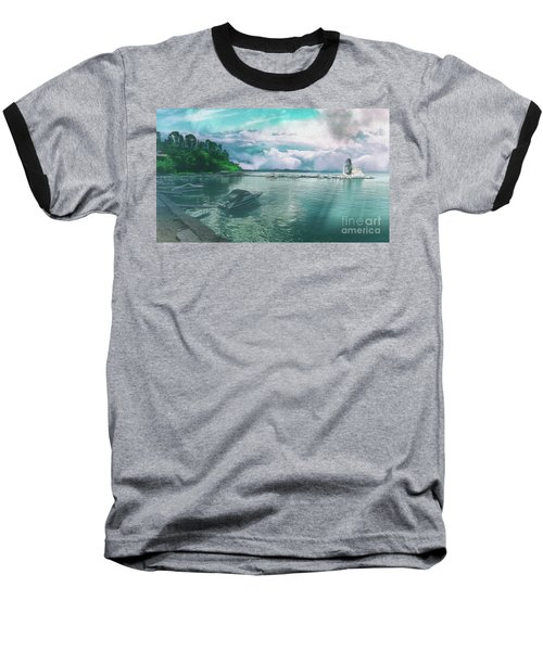 Baseball T-Shirt featuring the photograph From The Causeway Pontikonisi Corfu by Leigh Kemp