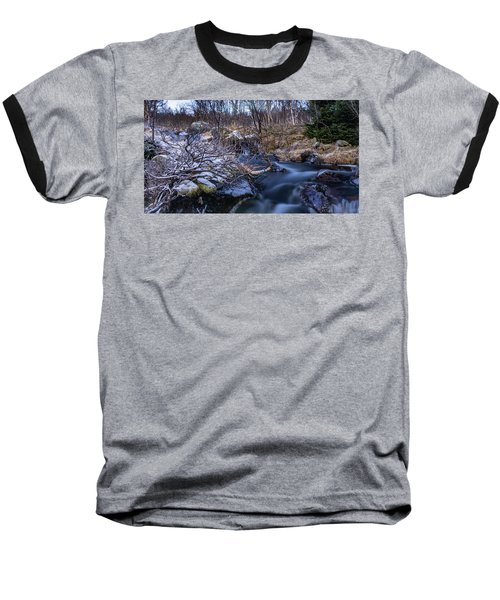 Frozen River And Winter In Forest Baseball T-Shirt