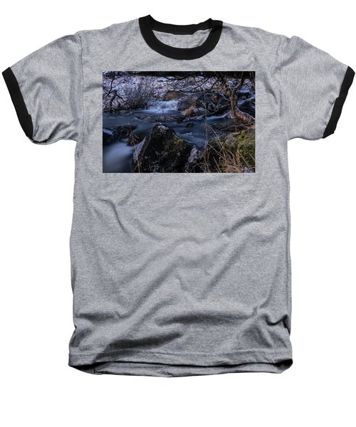 Frozen River And Winter In Forest. Long Exposure With Nd Filter Baseball T-Shirt