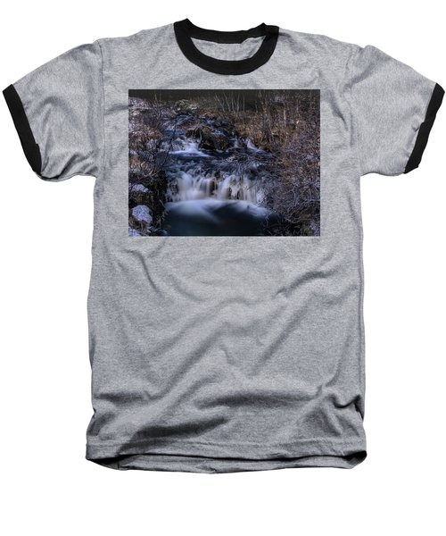 Frozen River In Forest - Long Exposure With Nd Filter Baseball T-Shirt