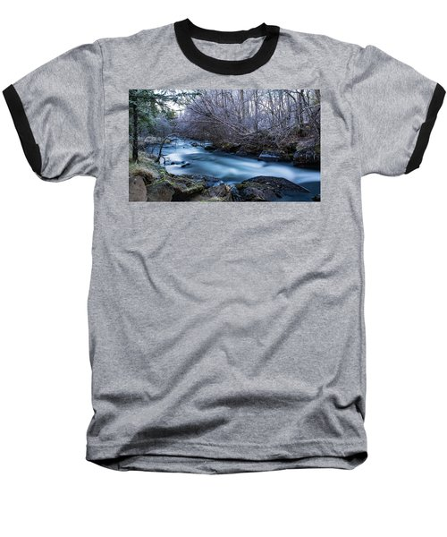 Frozen River Surrounded With Trees Baseball T-Shirt