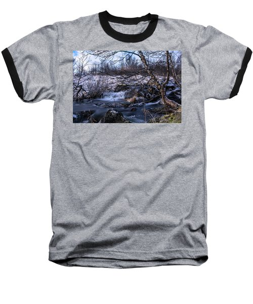 Frozen Tree In Winter River Baseball T-Shirt