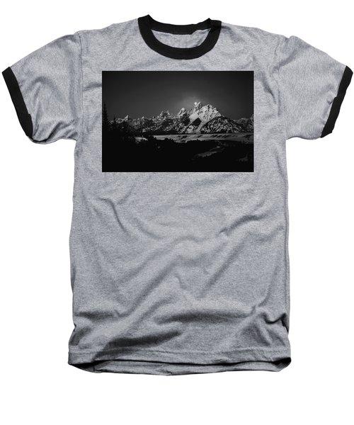 Full Moon Sets In The Tetons Baseball T-Shirt