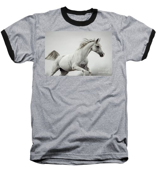 Baseball T-Shirt featuring the photograph Galloping White Horse by Dimitar Hristov