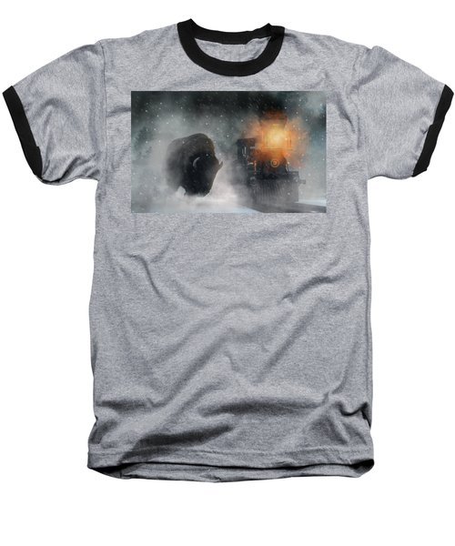 Giant Buffalo Attacking Train Baseball T-Shirt