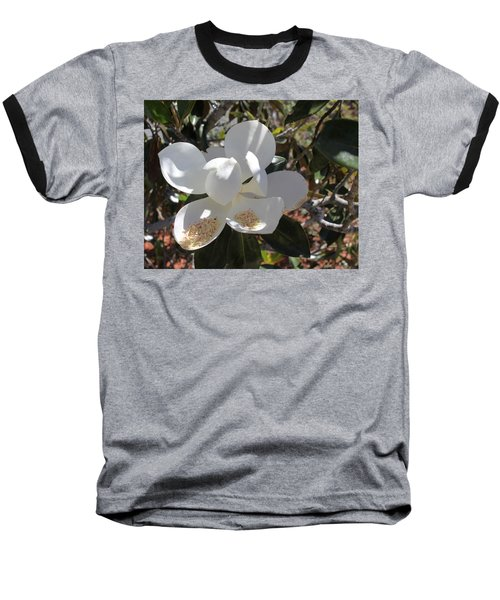 Gigantic White Magnolia Blossoms Blowing In The Wind Baseball T-Shirt