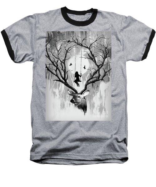 Girl Swing On Deer Horn  Baseball T-Shirt