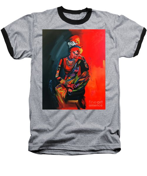 Baseball T-Shirt featuring the painting Goddess Of Colors by Nizar MacNojia