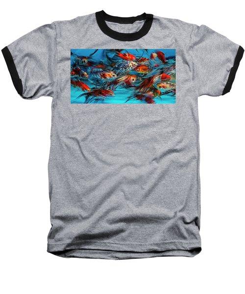 Gold Fish Abstract Baseball T-Shirt