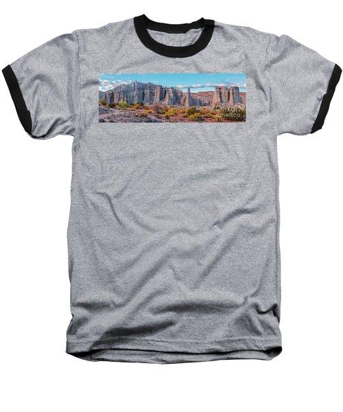 Golden Hour Fall Panorama Of Plaza Blanca - Abiquiu Rio Arriba County New Mexico Baseball T-Shirt