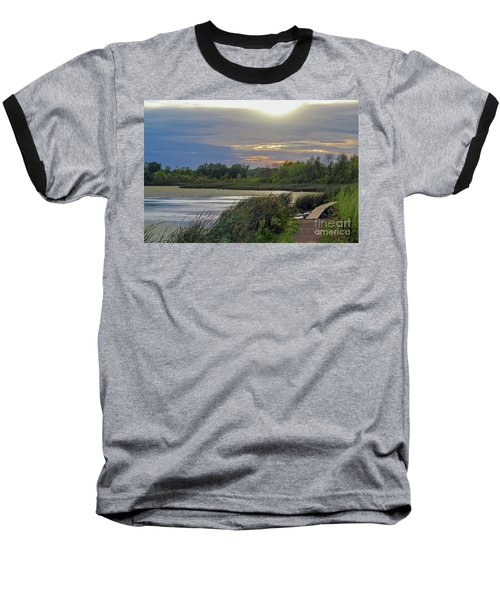 Golden Sunset Over Wetland Baseball T-Shirt