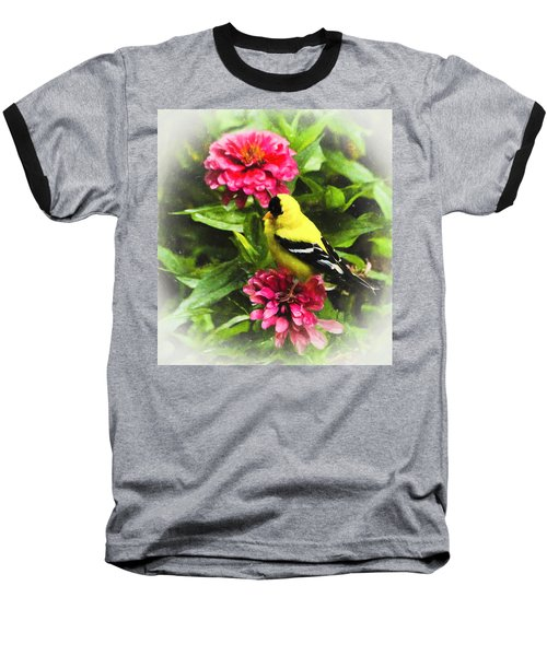 Goldfinches Love Zinnias Baseball T-Shirt