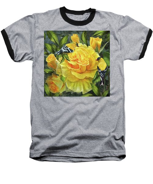 Baseball T-Shirt featuring the mixed media Goldfinches On Gold Roses by Carol Cavalaris