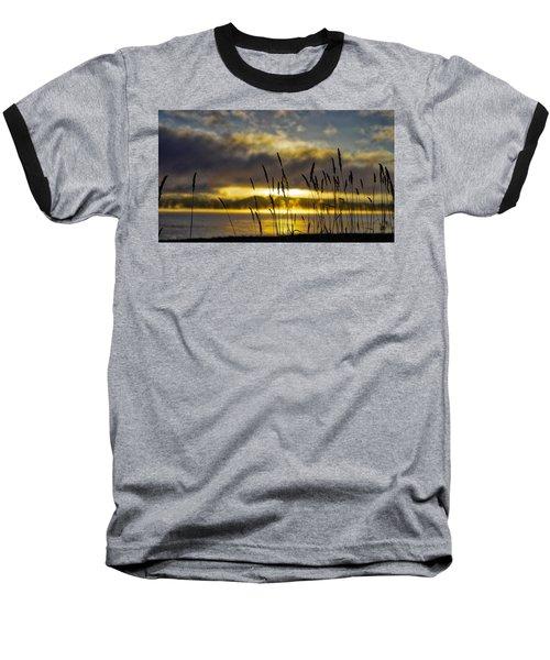 Grassy Shoreline Sunrise Baseball T-Shirt