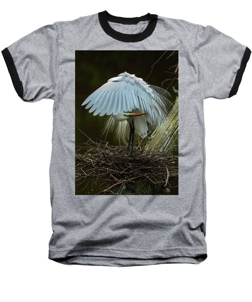 Great Egret Beauty Baseball T-Shirt