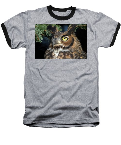 Great Horned Owl 10181801 Baseball T-Shirt