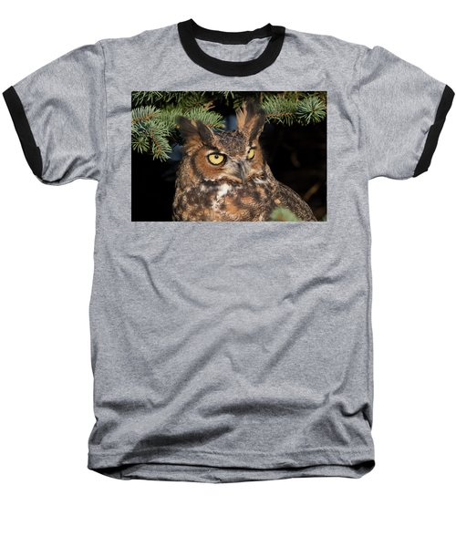 Great Horned Owl 10181802 Baseball T-Shirt