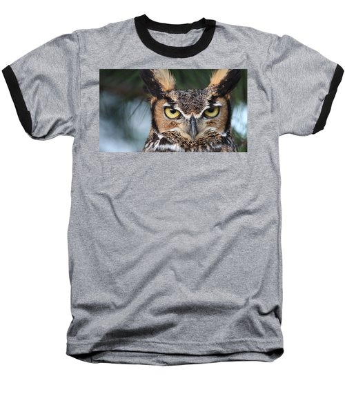 Great Horned Owl Eyes 51518 Baseball T-Shirt