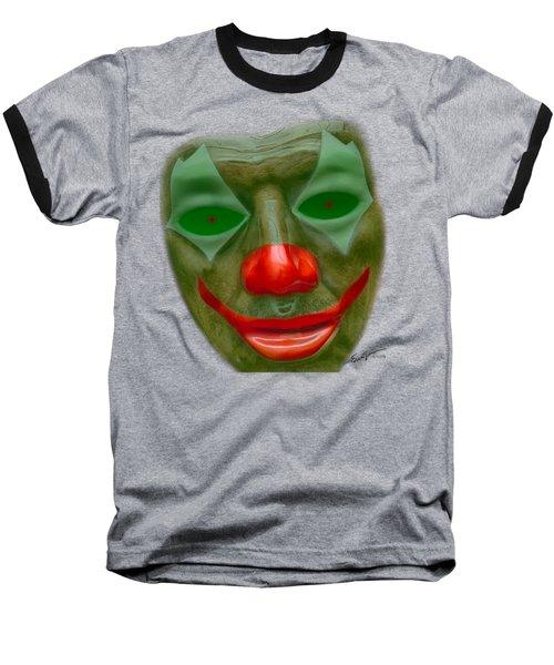 Green Clown Face Baseball T-Shirt