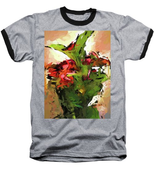 Green Leaves And The Red Flower Baseball T-Shirt