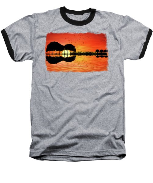 Guitar Island Sunset Baseball T-Shirt