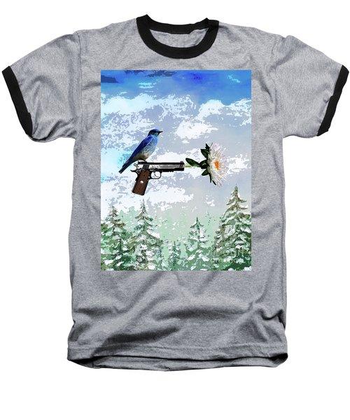 Bluebird Of Happiness- Flower In A Gun Baseball T-Shirt