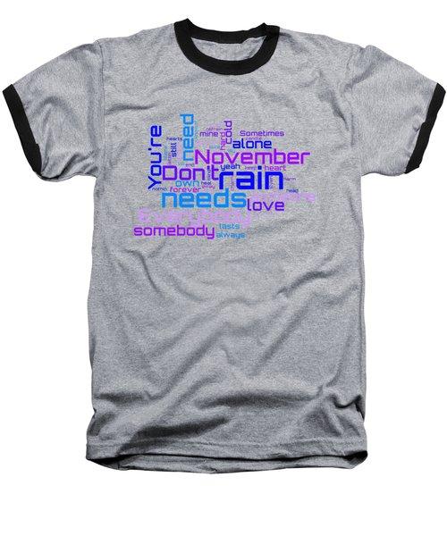 Guns N' Roses - November Rain Lyrical Cloud Baseball T-Shirt