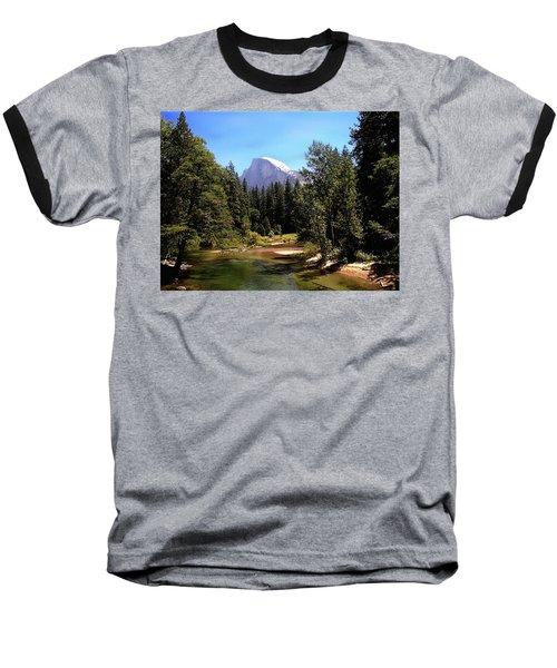 Half Dome From Ahwanee Bridge - Yosemite Baseball T-Shirt
