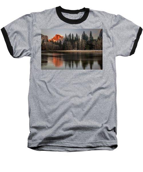 Half Dome Sunset In Winter Baseball T-Shirt
