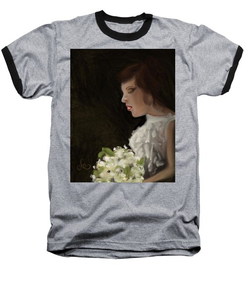 Baseball T-Shirt featuring the painting Her Big Day by Fe Jones