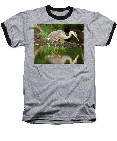 Heron Fishing Baseball T-Shirt