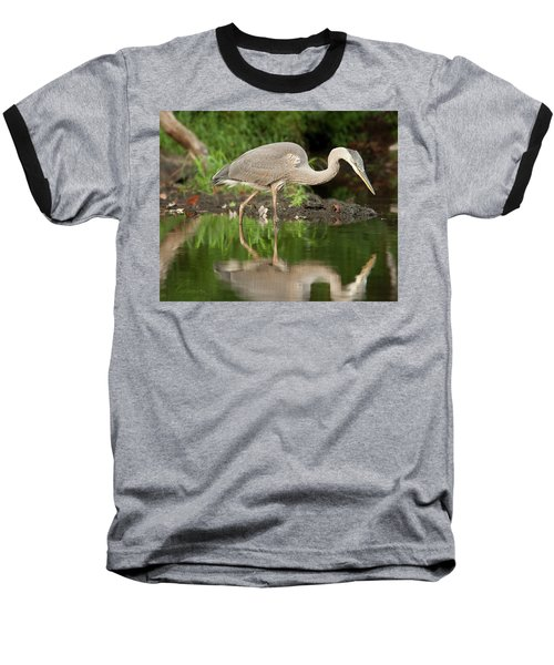 Heron Fishing Baseball T-Shirt