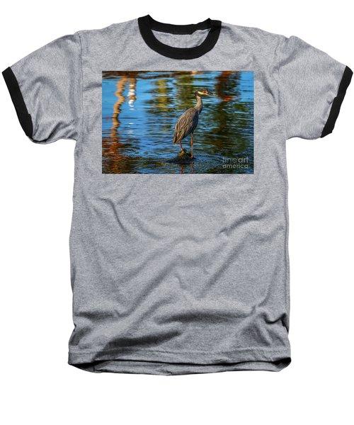 Heron On Rock Baseball T-Shirt