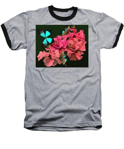 Hibiscus Butterfly Joy Baseball T-Shirt