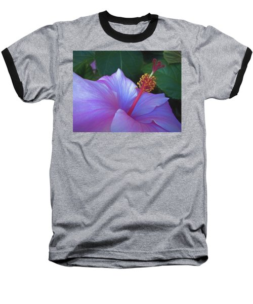 Baseball T-Shirt featuring the mixed media Hibiscus Grace 5  by Lynda Lehmann