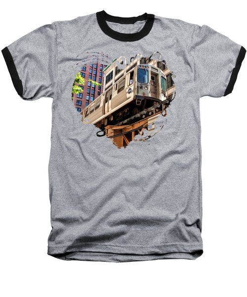 Historic Chicago El Train Baseball T-Shirt